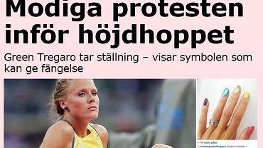 Screen z serwisu dziennika Aftonbladet. Na zdjęciu Emma Green i jej 'tęczowe' paznokcie.