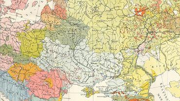 Fragment etnograficznej mapy Europy Środkowo-Wschodniej autorstwa geografa Stepana Rudnyćkiego, który wspierał starania o utworzenie niepodległej Ukrainy