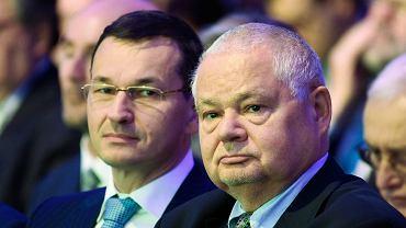 Mateusz Morawiecki i Adam Glapiński podczas  6. edycji 'NBP Conference on the Future of the European Economy'. Warszawa, 14 października 2016