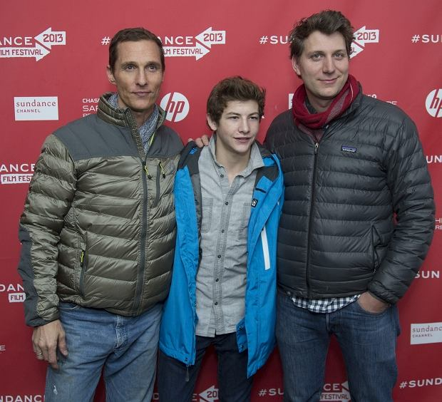 """Director Jeff Nichols, right, and cast members Matthew McConaughey, left, and Tye Sheridan, center, pose together at the premiere of """"Mud"""" during the 2013 Sundance Film Festival on Saturday, Jan. 19, 2013 in Park City, Utah. (Photo by Danny Moloshok/Invision/AP)"""