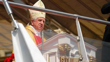 Częstochowa, 12 lipca 2015. Pielgrzymka Rodziny Radia Maryja na Jasną Górę. Na zdjęciu abp Andrzej Dzięga