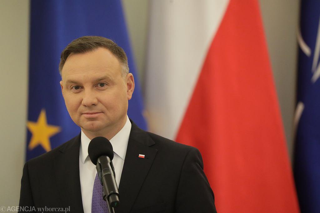 Prezydent RP Andrzej Duda. Pałac Prezydencki, Warszawa, 24 lutego 2020