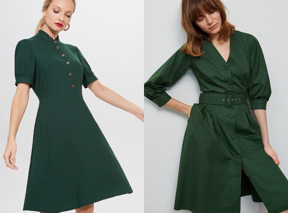Sukienki w kolorze butelkowej zieleni
