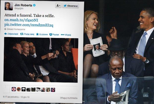 Obama, Thorning-Schmidt i Cameron robią sobie zdjęcie na uroczystościach żałobnych ku czci Nelsona Mandeli