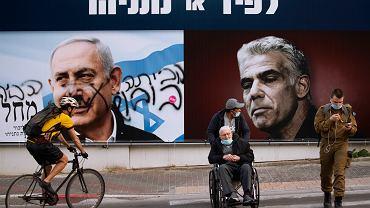 Plakat wyborczy Likudu premiera Netanjahu. Różnica w porównaniu do plakatu Niebiesko-Białych ewidentna