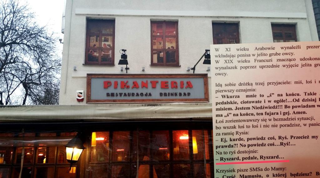 Seksistowskie, rasistowskie i homofobiczne żarty w restauracji warszawskiej