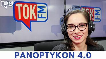 Okładka podcastu TOK FM i fundacji 'Panoptykon' Panoptykon 4.0. Na zdjęciu autorka, Katarzyna Szymielewicz