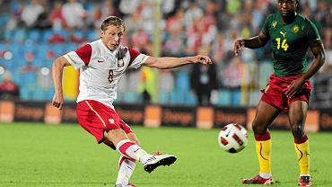 Rafał Murawski podczas towarzyskiego meczu Polska - Kamerun