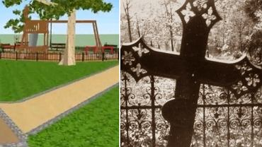 Wizualizacja parku w Skarszewach i fragment dawnego cmentarza