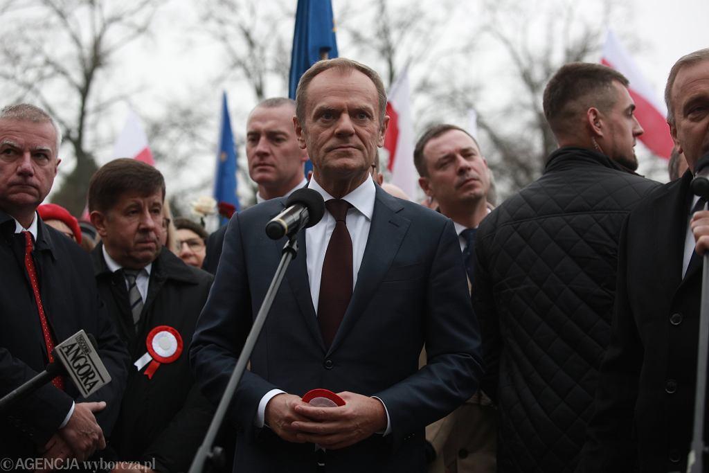 Donald Tusk w czasie obchodów Święta Niepodległości