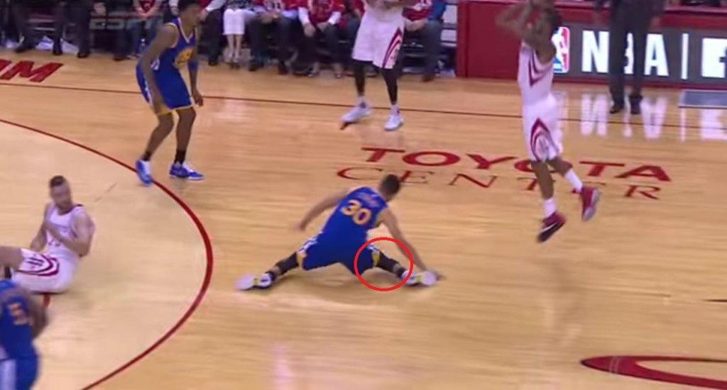 Stephen Curry poślizgnął się i uszkodził kolano