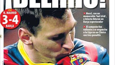'Szaleństwo!' - to tytuł z okładki El Mundo Deportivo. 'Messi strzelił niezapomnianego hat tricka, a Iniesta był liderem niesamowitej Barcelony'. Gazeta pisze o tym jak ważny to był mecz dla Barcelony: Pięć lat temu Barcelona wygrała na Santiago Bernabeu 6:2, co dało początek jej panowaniu w futbolu. Niedzielne zwycięstwo ożywiło tamte wspomnienia. Florentino Perez robił wszystko, by zatrzymać Barcelonę. Real mógł zadać śmiertelny cios, ale Leo Messi, Andres Iniesta i reszta wysłali światu wiadomość, że wciąż rządzą w światowej piłce. Real mógł mieć siedem punktów przewagi. Ma tylko jeden za sprawą drużyny, który odniosła pamiętne zwycięstwo 4:3 w klasyku klasyków.'
