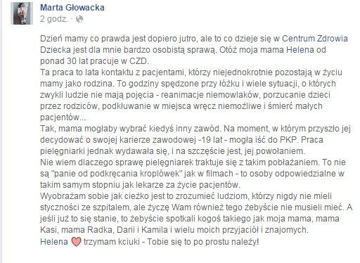 Wzruszający wpis córki pielęgniarki z CZD.