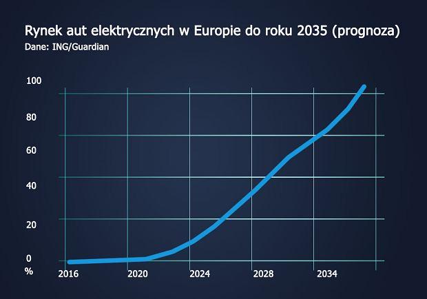 Sprzedaż aut elektrycznych w Europie