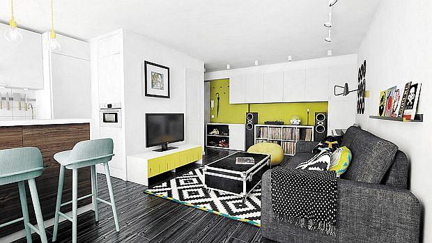 Małe mieszkanie didżeja - salon