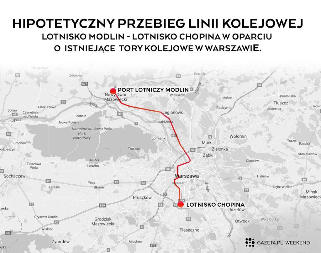 Tak mogłoby wyglądać połączenie kolejowe Modlina i Okęcia (Grafika: Marta Kondrusik/Gazeta.pl)