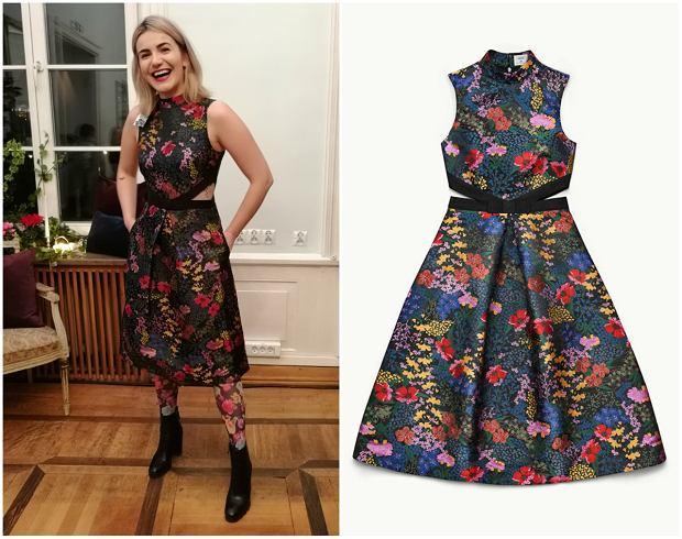 Sukienka Erdem dla H&M (599 zł) - na zdjęciu packshotowym i w przymierzalni