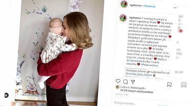 Agnieszka Kaczorowska założyła córce uroczą sukienkę