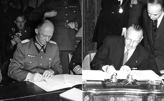 Po lewej: 7 maja 1945 r., gen. Alfred Jodl podpisuje w Reims przed aliantami akt bezwarunkowej kapitulacji hitlerowskich Niemiec. Po prawej: podpisanie traktatu paryskiego 18 kwietnia 1951 r. powołującego Europejską Wspólnotę Węgla i Stali, która w przyszłości przekształciła się w Unię Europejską. Integrację europejską zapoczątkowała 9 maja 1950 r. słynna deklaracja Roberta Schumana