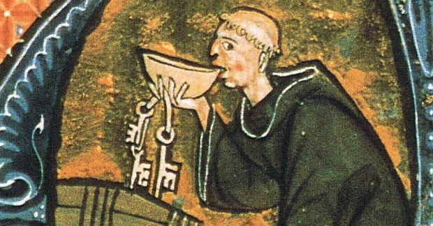 Średniowieczny mnich po kryjomu pijący wino, Anglia, schyłek XIII w.