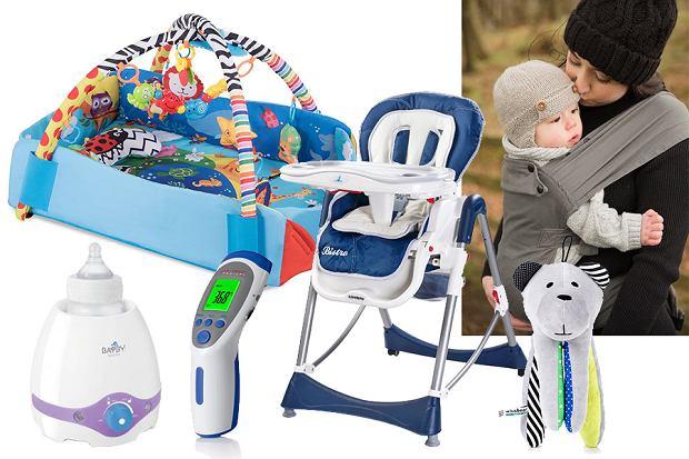 Szumiący miś, mata edukacyjna, podgrzewacz do mleka, krzesełko do karmienia, termometr bezdotykowy, nosidło dla dziecka