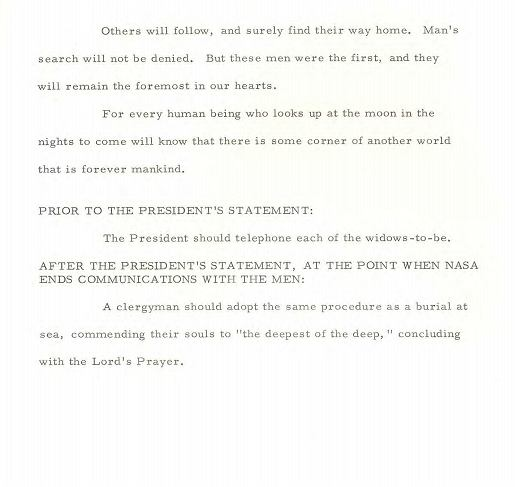 Notatka ws. orędzia prezydenta Nixona na wypadek śmierci astronautów z Apollo 11