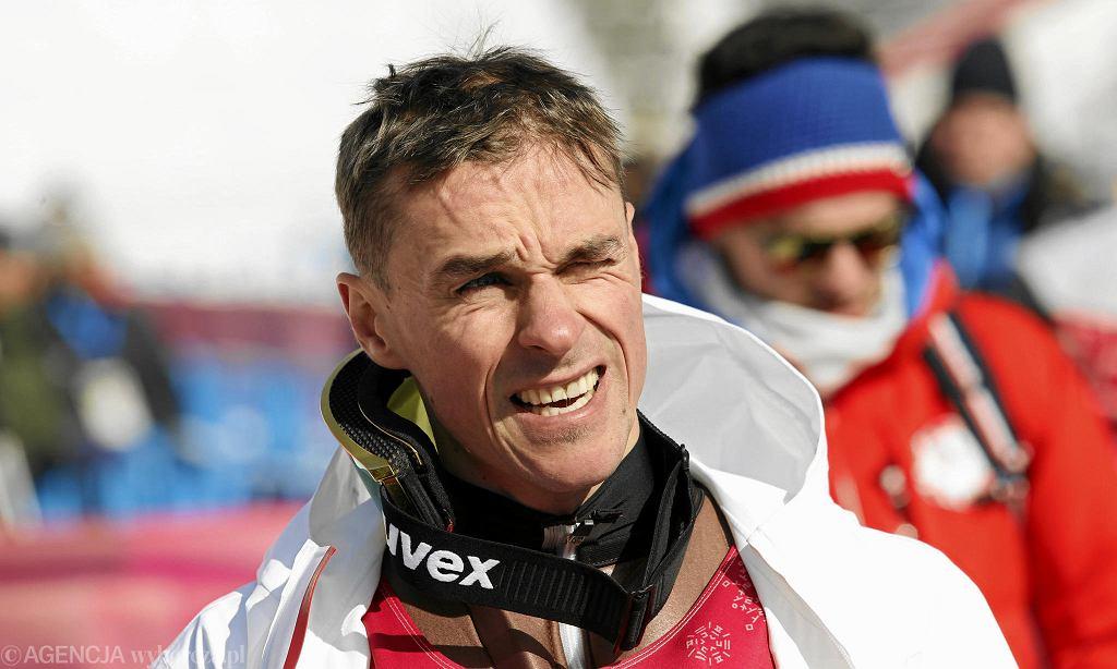 Piotr Żyła podczas treningu. XXIII Zimowe Igrzyska Olimpijskie Pjongczang 2018. Korea, 7 lutego 2018