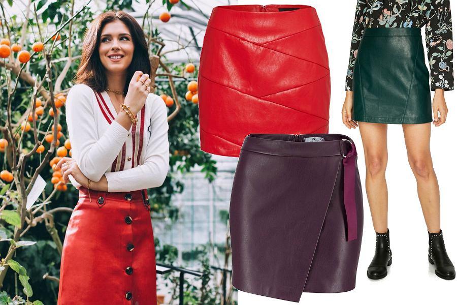 Skórzane spódnice w kolorze