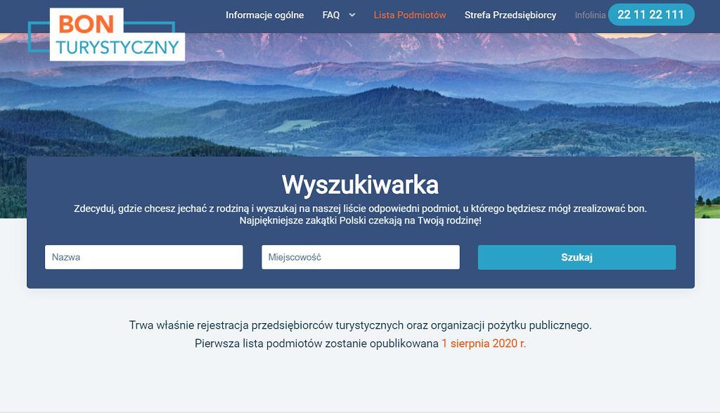 Wyszukiwarka Polskiego Bonu Turystyczneg
