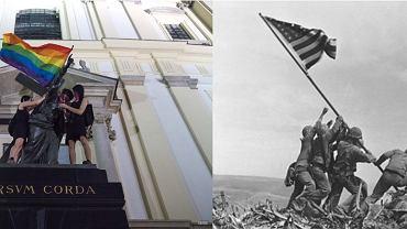Flagi zatknięte jak sztandar, tęczowa w Warszawie i amerykańska na Iwo Jimie