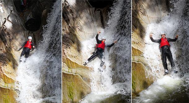 Mój pierwszy raz: kanioning, sport, mój pierwszy raz, tobogan - czyli rynna, którą Bruar spływa nieco łagodniej niż wodospadem