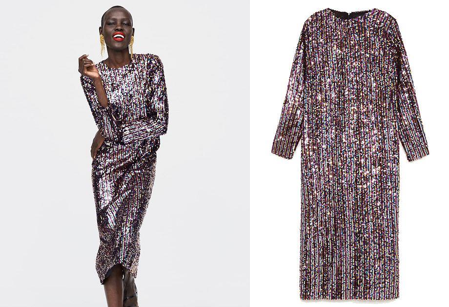 Cekinowa sukienka Zara to propozycja dla kobiet szukających prostych, ale efektownych modeli