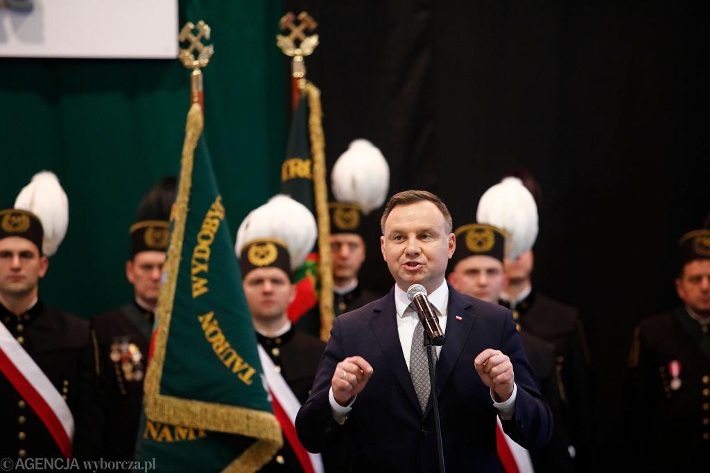 Prezydent Andrzej Duda podczas Akademii Barbórkowej