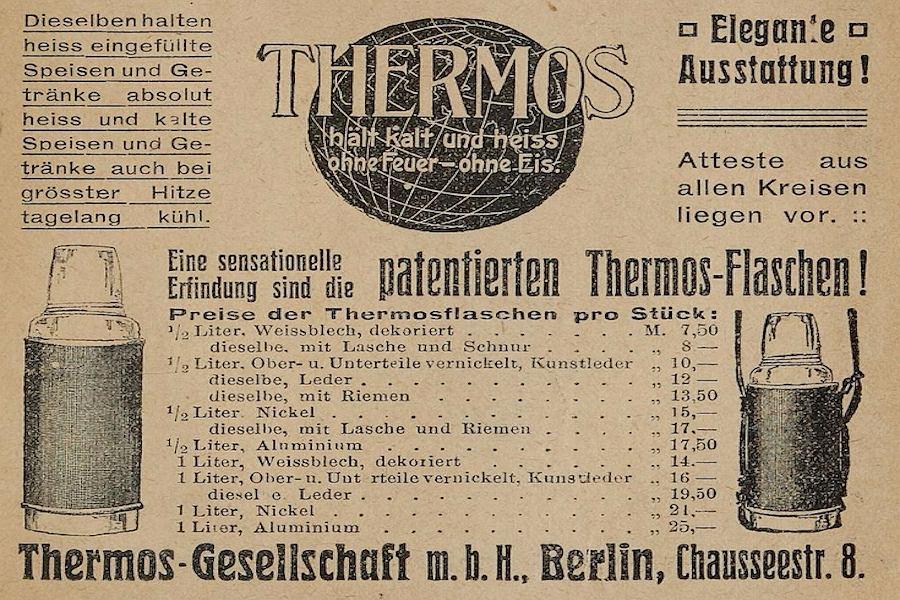 W 1907 roku Reinhold Burger opatentował pomysł na umieszczenie szklanego naczynia Dewara w metalowej obudowie, którą zabezpieczył od góry korkiem