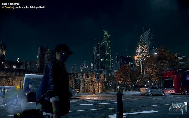 Screen z gry 'Watch Dogs: Legion'. Widać brak The Tulip w panoramie wirtualnego Londynu