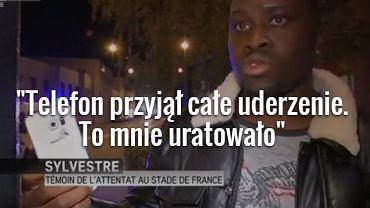 Mężczyzna, który twierdzi, że telefon uratował mu życie podczas zamachu w Paryżu