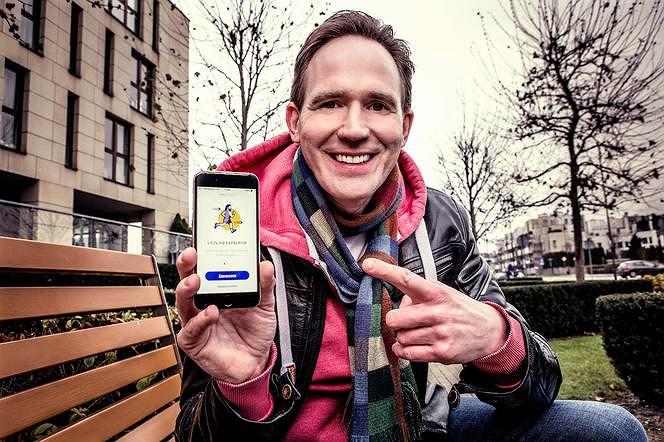 Tomasz Uściński ze swoją aplikacją Boomerun