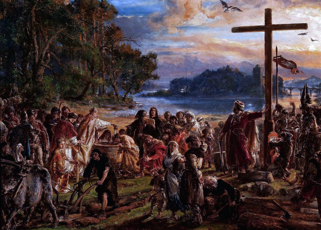 Obraz Jana Matejki 'Zaprowadzenie chrześcijaństwa R.P. 965'