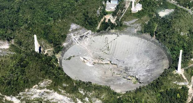 Teleskop w Obserwatorium Arecibo po zawaleniu się odbiornika na czaszę w grudniu 2020 roku