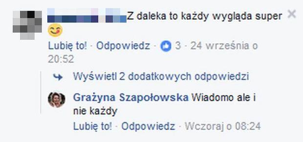 Szapołowska odpowiada fanom