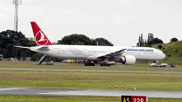 Samolot Turkish Airlines na lotnisku w Kopenhadze