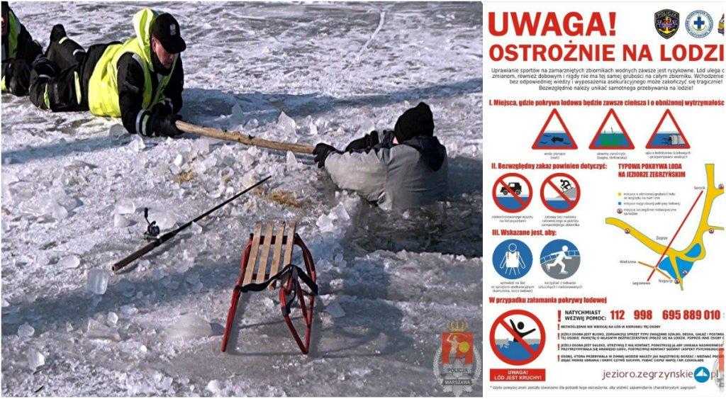 Co zrobić gdy załamie się pod tobą lód? Policjanci wyjaśniają