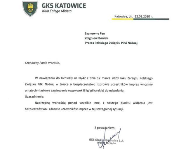 GKS Katowice chce natychmiastowego zawieszenia rozgrywek