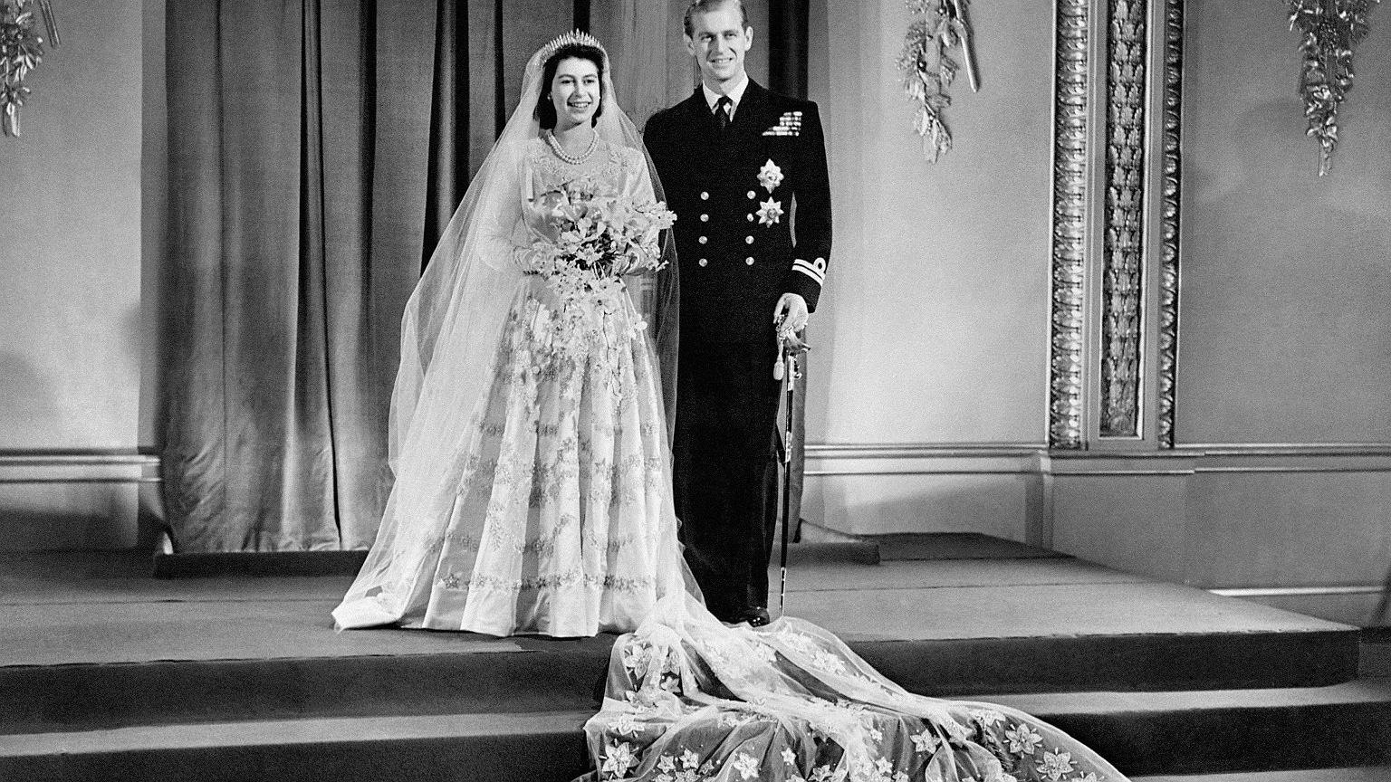 Elżbieta i Filip w dniu ślubu
