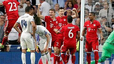 Robert Lewandowski podczas meczu Bayern Monachium - Real Madryt