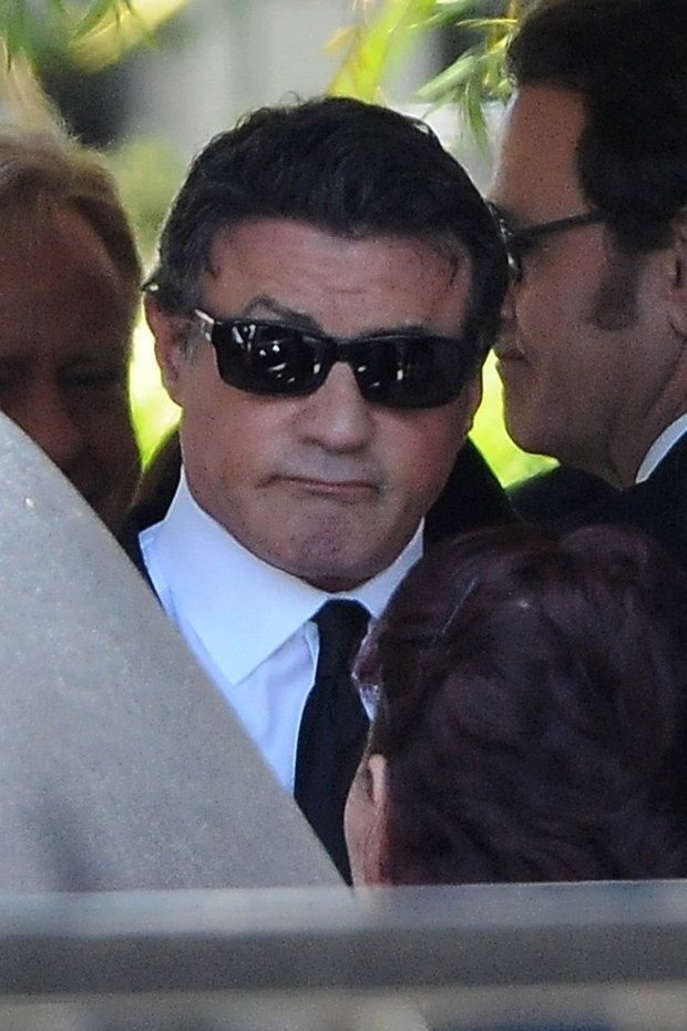 Brentwood, CA - Part 2 - Grieving father Sylvester Stallone attends his son Sage Stallone's Brentwood funeral wearing a black suit and tie and hiding his eyes with a pair of dark sunglasses.  Sage Stallone is said to have died from and accidental drug overdose.    AKM-GSI          July 21, 2012    To License These Photos, Please Contact :    Steve Ginsburg  (310) 505-8447  (323) 4239397  steve@ginsburgspalyinc.com  sales@ginsburgspalyinc.com    or    Keith Stockwell  (310) 261-8649  (323) 325-8055   keith@ginsburgspalyinc.com  ginsburgspalyinc@gmail.com *** Local Caption ***  Sage Stallone Funeral