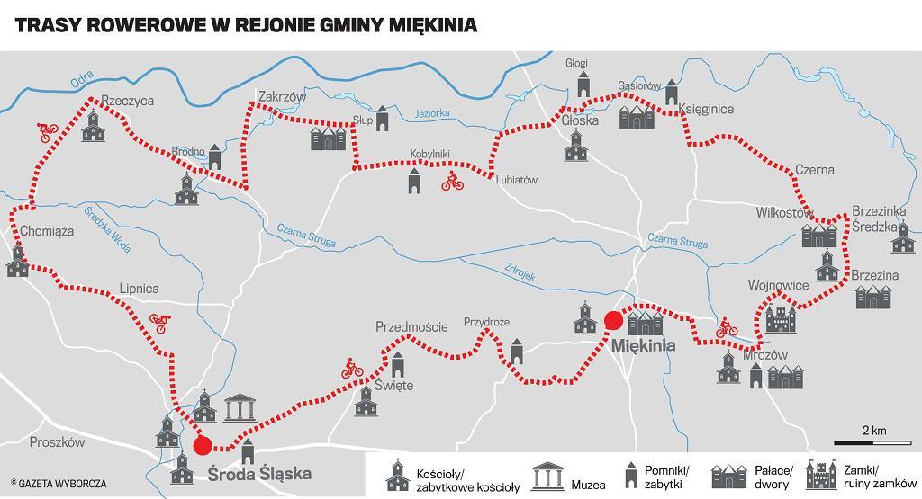 Trasy rowerowe w rejonie gminy Miękinia