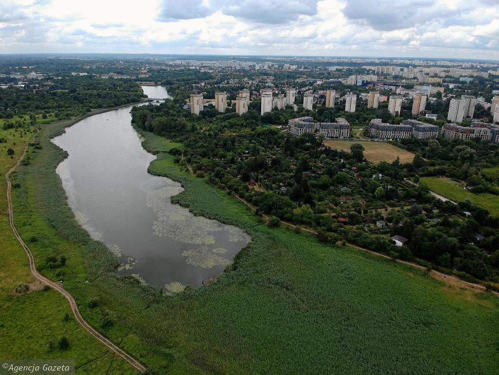 Widok na tereny zielone wokół Jeziorka Czerniakowskiego z okolicy skrzyżowania alei Polski Walczącej i Trasy Siekierkowskiej