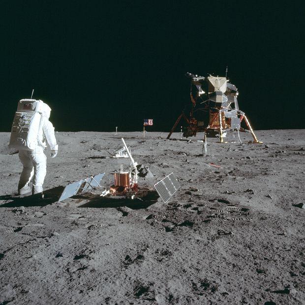 Buzz Aldrin na Księżycu, zdjęcie wykonane przez Neila Armstronga, 20 lipca 1969 r.
