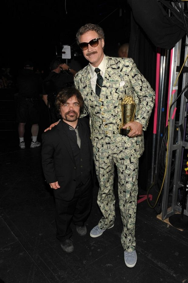 Actors Peter Dinklage, left, and Will Ferrell attend the MTV Movie Awards in Sony Pictures Studio Lot in Culver City, Calif., on Sunday April 14, 2013. (Photo by John Shearer/Invision for MTV/AP Images)